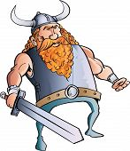Viking cartoon with a big sword.