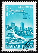 Postage Stamp Hungary 1966 Plane Over Beirut