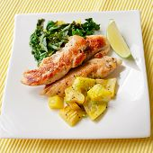 Roasted Chicken Breast With Saute Kale And Squash Vegetables