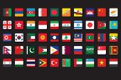 Asian Flags Icons Over Black