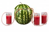 Watermelon And Three Glasses Of Juice