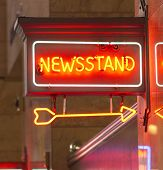 Newsstand Red Neon Sign Indoor Signage Arrow Pointing News