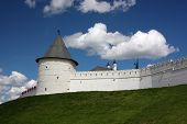 Round tower and wall of Kazan Kremlin. Russia, Republic of Tatarstan