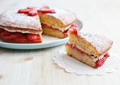 stock photo of sponge-cake  - Victoria sponge cake with straberries - JPG