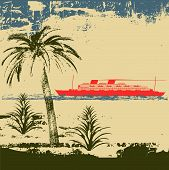 foto of cruise ship  - Illustration of a tropical beach with a vintage cruise ship in the background - JPG