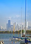 stock photo of u-boat  - Lake Michigan Boats and Chicago Skyline in the Background - JPG