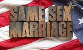American flag with same sex marriage words