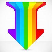 Rainbow stripes realistic plastic vector up arrow
