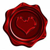 stock photo of soulmate  - red wax seal with a heart shape on it - JPG