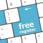 Free Register Computer Keyboard Key Showing Internet Concept