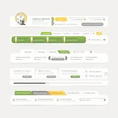 Website template design menu navigation elements with icon set