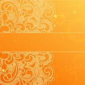 Orange background with stylish floral pattern