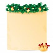 Sheet Of Paper Decorated With Fir Branch And Christmas Toys.christmas Background.vector