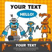 Vintage greeting card with cartoon robots