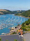 picture of dartmouth  - Dartmouth and River Dart harbour Devon England railway station in foreground