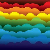 Abstract Colorful 3D Paper Clouds Background (backdrop) - Vector Graphic.