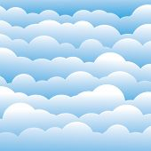 Abstract Blue 3D Fluffy Clouds Background (backdrop) - Vector Graphic.