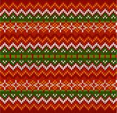 image of zigzag  - Red ornate zigzag stripes vector Christmas knit seamless pattern - JPG