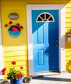 pic of houseboats  - Yellow Blue Door Houseboat Floating Home Village Fisherman - JPG