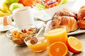 Breakfast Including Coffee, Bread, Honey, Orange Juice, Muesli A