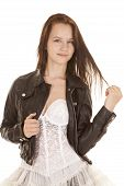 White Dress Play With Hair Leather Jacket