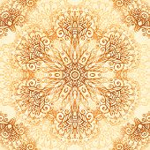 foto of mehndi  - Ornate vintage circle vector seamless pattern in mehndi style - JPG