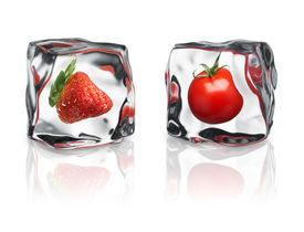 picture of vegetable food fruit  - strawberry and tomato were frozen inside ice cubes - JPG