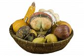 image of cornicopia  - Dry vegetables and fruits as decoration in a basket isolated on white - JPG