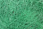 Close up of green yarn.