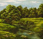 Painting, summer landscape