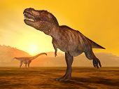 Tyrannosaurus Rex and Puertasaurus