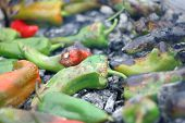 Cooking Peppers On Ember Charcoal