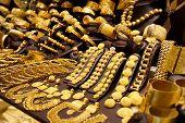 Window display of jewelry shop, asian bazaar