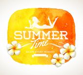 Summer time greeting and frangipani tropical flowers on a yellow watercolor background banner - vector illustration