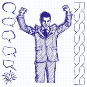 Vector sketch, comics style happy businessman with hands up, celebrating his victory