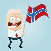 happy cartoon man with Norwegian flag