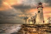 stock photo of marblehead  - An HDR processed photo of the historic Marblehead Lighthouse in Northwest Ohio - JPG