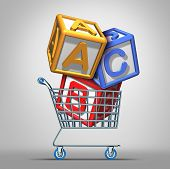 stock photo of daycare  - Preschool shopping and early education concept with a a group of three dimensional school alphabet blocks in a shop cart as a symbol of finding the best daycare center or nursey for young children learning - JPG