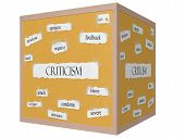 stock photo of pegboard  - Criticism 3D cube Corkboard Word Concept with great terms such as harsh opinion bash and more - JPG