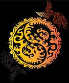 Flying Red Dragon hanging Yin Yang symbol with phoenix