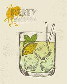 Hand drawn illustration of tropical cocktail.