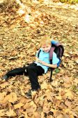 Schoolboy In Fall Time