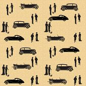 Vintage Seamless Pattern With Cars And People