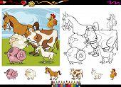 Farm Animals Cartoon Coloring Page Set