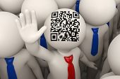 3D Business People Waving - Qr Code