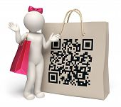 3D Woman With Giant Qr Code Shopping Bag