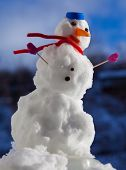 Little Happy Christmas Snowman With Pink Gloves Outdoor. Winter Season.