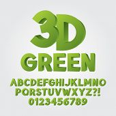 Abstract Green 3D Plastic Alphabet