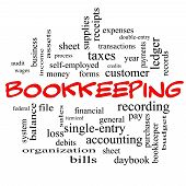 Bookkeeping Word Cloud Concept In Red Caps