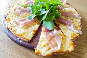 Itallian Pizza Parma Ham On Wood Dish